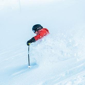skieur alpin expérimenté dans la poudreuse